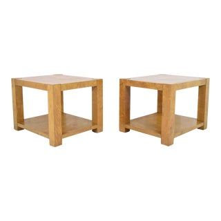 Mid-Century Modern Milo Baughman Burl Wood End Tables - a Pair For Sale