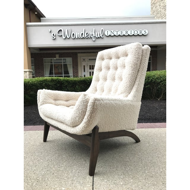 Adrian Pearsell for Basset Mid-Century-Modern Lounge Chair Tufted Faux Fur Shearling For Sale - Image 6 of 10