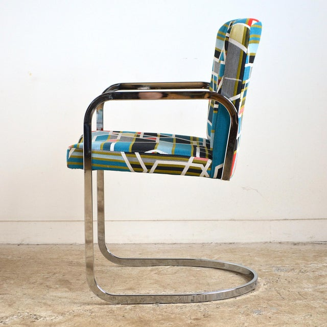 Metal Design Institute of America Set of Four Chairs with Maharam Fabric For Sale - Image 7 of 11
