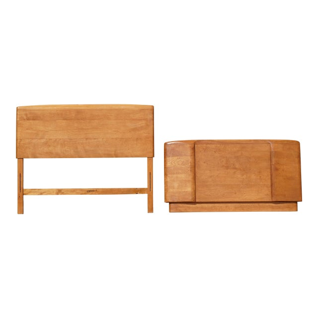 1960s Mid Century Heywood Wakefield Champagne Twin Bed Headboard and Footboard - 2 Pieces For Sale