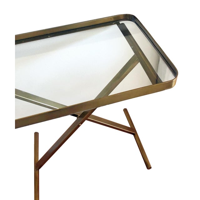 Contemporary Ralph Lauren Home One Fifth Cross Brass Tray Table Bar Cart For Sale - Image 3 of 4