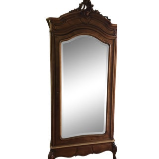 Antique French One Piece Mirrored Armoire For Sale