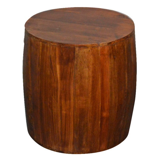 Reclaimed Wood Drum Barrel Side Table For Sale