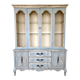 1960s French Provincial China Cabinet For Sale