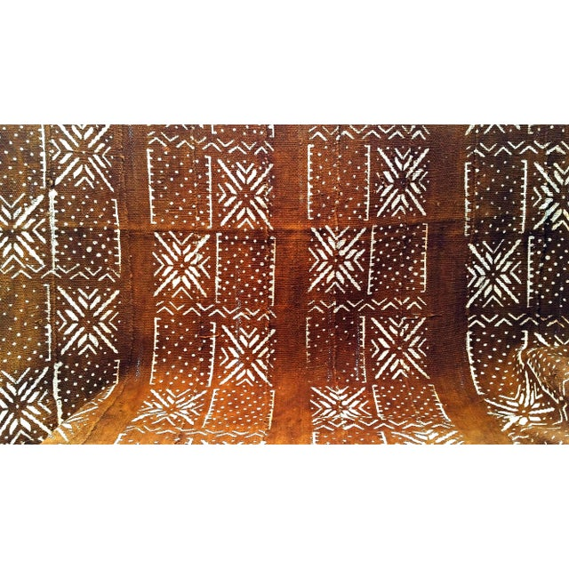 African MudCloth Brown Rust Textile For Sale - Image 4 of 7