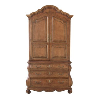 1990s Vintage Italian Style Paint Decorated Large Bedroom Armoire For Sale
