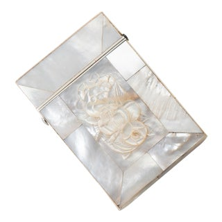 Antique English Mother of Pearl Business Card Case For Sale