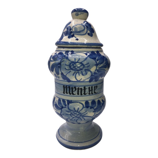 Vintage French Quimper Breton Apothecary Jar For Sale