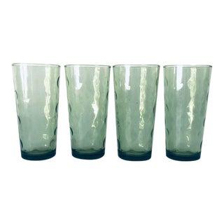 Midcentury Vintage Hazel Atlas El Dorado Green Flat Tall Glass S/4 For Sale