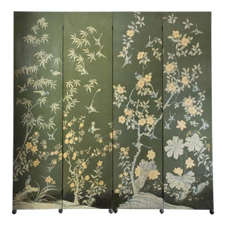 Mid Century Wallpaper 4 Panel Hand Painted Chinoiserie Screen