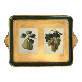 Vintage Italian Florentine Gilt Gold Tray With Fruit Details For Sale
