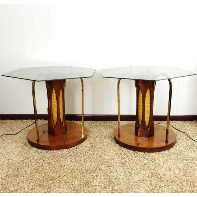 Yellow Mid-Century Wood & Glass Coffee & Lighted Side Table - Set of 3 For Sale - Image 8 of 10