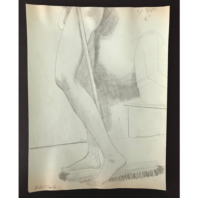 Contemporary 1980 Naked Janitor Studio Drawing For Sale - Image 3 of 3