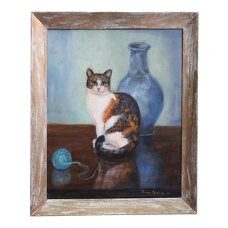 Calico Cat Portrait Painting by Ruth Spacek For Sale