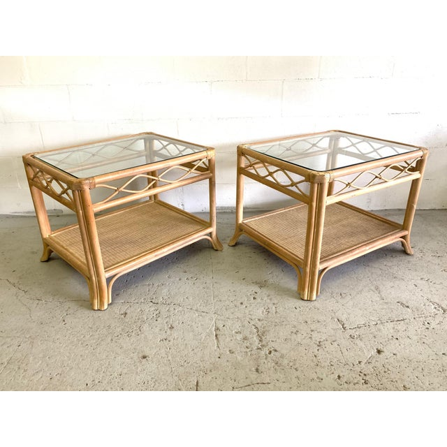 Wicker Rattan and Glass End Tables, a Pair For Sale - Image 7 of 7