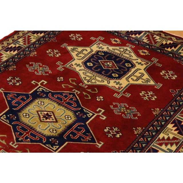 Textile Sherwan James Red/Ivory Wool Rug - 4'1 X 5'10 For Sale - Image 7 of 8