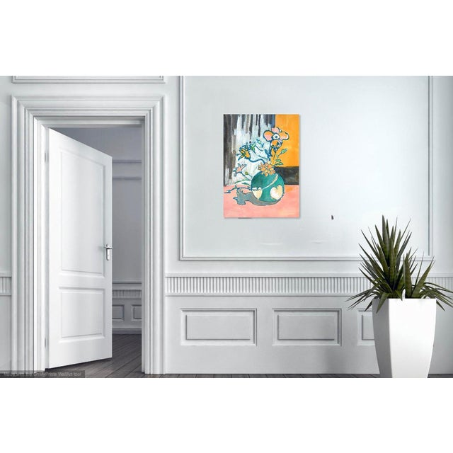 Watercolor Contemporary Drawing, Flowers in a Heart Vase For Sale - Image 7 of 9