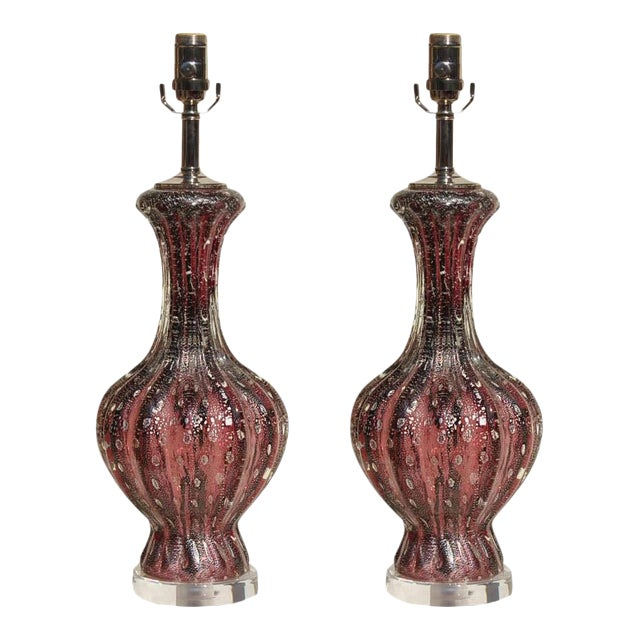 Vintage Murano Glass Table Lamps Purple Silver For Sale