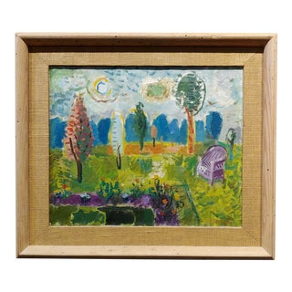Abbott Pattison -The Purple Chair in a Garden Landscape - Oil Painting For Sale