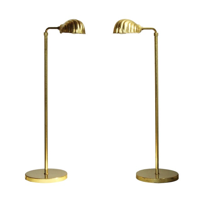 Chapman Lighting Adjustable Brass Reading Lamps, pair - Image 1 of 8