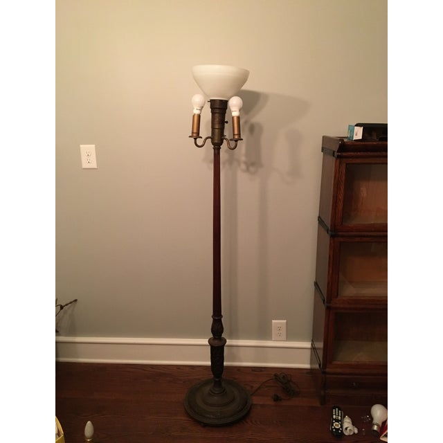 Carved wood leviton torchiere floor lamp chairish carved wood leviton torchiere floor lamp for sale image 11 of 11 aloadofball Image collections