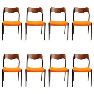 Mid Century Niels Otto Møller Refinished Danish Rosewood Dining Chairs- Set of 8 For Sale