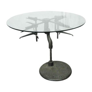 Industrial Machinery Base Sculpture Table For Sale