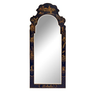 Vintage Mid Century Black and Gold Color Chinoiserie Mirror Frame For Sale