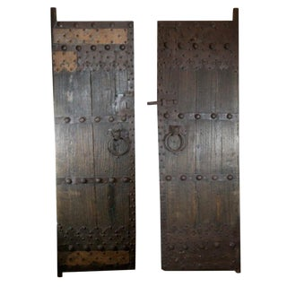 Late 19th c. Studded Elmood and Cast Iron Chinese Garden Gate Doors - a Pair