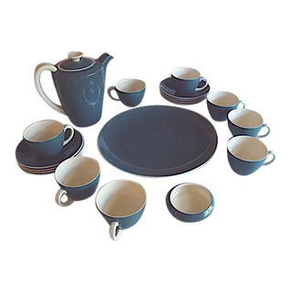 Poole Pottery Cameo Glaze Blue Moon Coffee Tea Demitasse Set For Sale