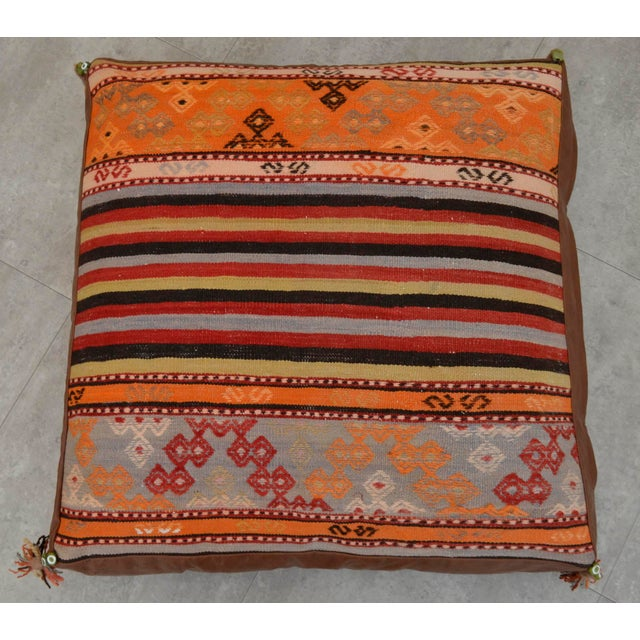 Turkish Hand Woven Floor Cushion Cover - 30″ X 30″ - Image 6 of 11