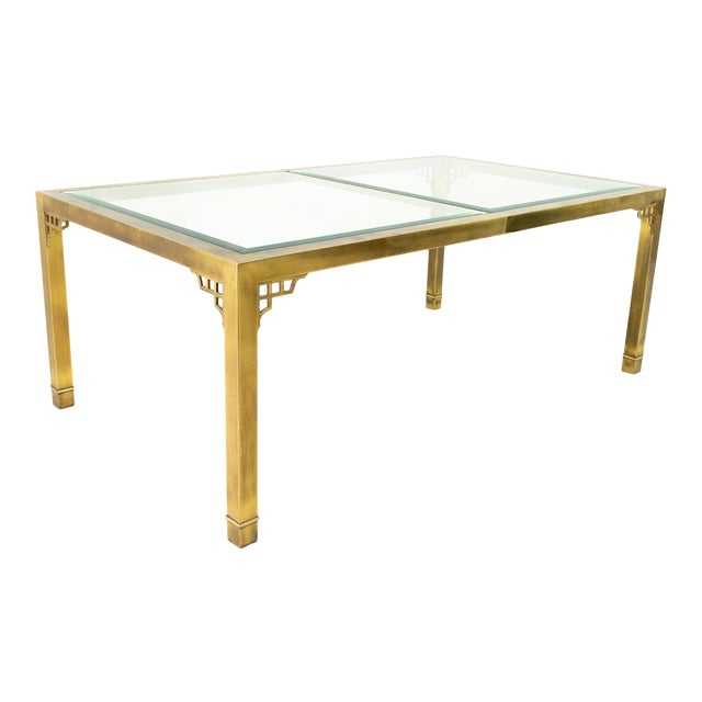 Mastercraft Mid Century Solid Brass and Glass Expanding Dining Table For Sale