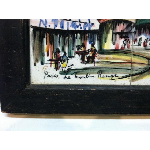 "Vintage Mid Century ""Paris - Le Moulin Rouge"" Original Painting on Tiles by Renee' For Sale - Image 4 of 7"