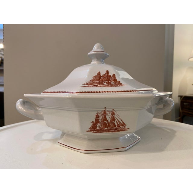 Wedgwood Wedgwood Flying Cloud Rust Octagonal Covered Vegetable Tureen For Sale - Image 4 of 4