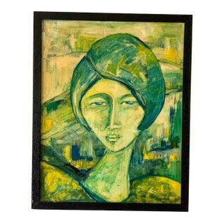1960s-1970s Bohemian Groovy Female Portrait Painting For Sale