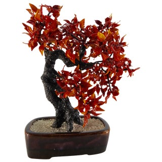 Vintage Chinese Polished Glass Leaves on Bonsai Tree For Sale