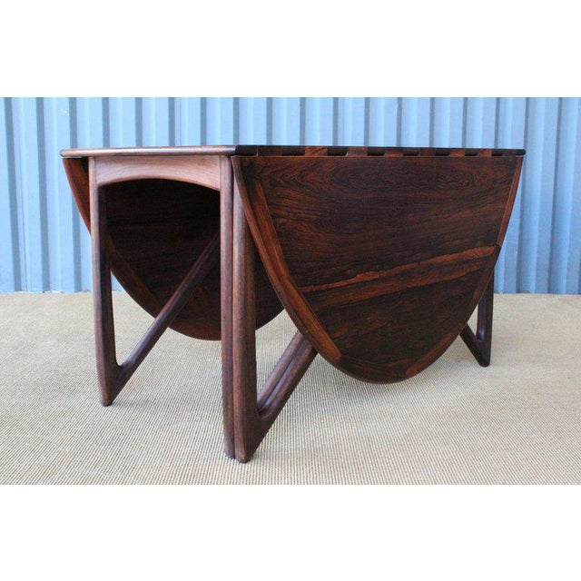 1960s Mid Century Niels Koefoed Rosewood Gate Leg Dining Table, Denmark, 1960s For Sale - Image 5 of 12