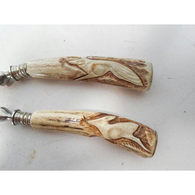 Art Nouveau Vintage German Carved Antler Nut Set For Sale - Image 3 of 6