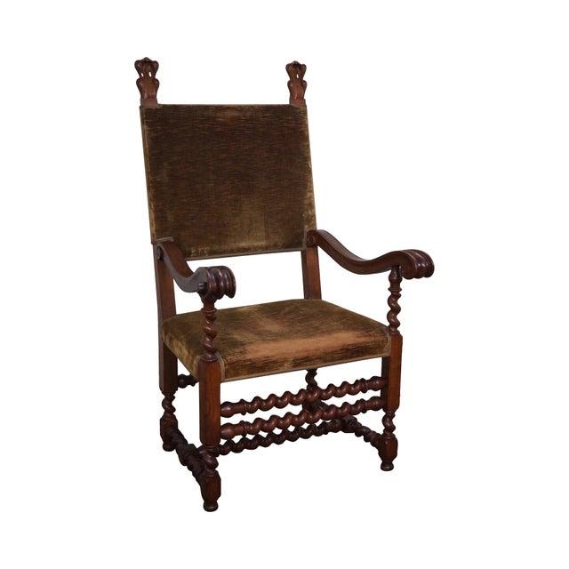 Antique 19th C. Renaissance Revival Barley Twist Throne Chair For Sale - Antique 19th C. Renaissance Revival Barley Twist Throne Chair Chairish