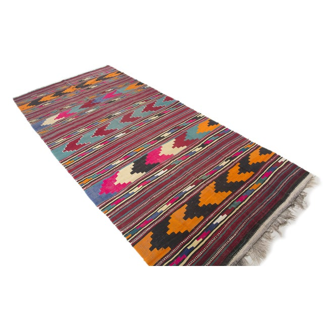 "Turkish Kilim Flat-Weave Runner Rug - 6'2"" x 14' - Image 3 of 8"