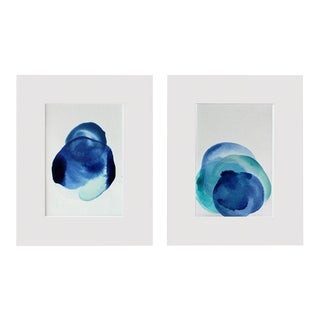 Original Modern Abstract Minimal Art Paintings - A Pair