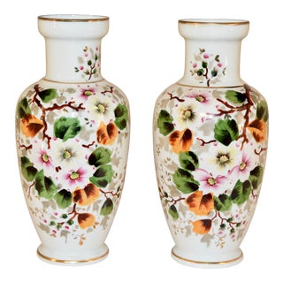 Pair of Late 19th C Opaline Glass Vases For Sale