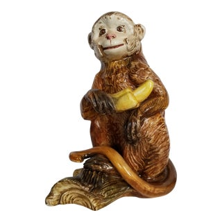 Ceramic Monkey With a Banana For Sale