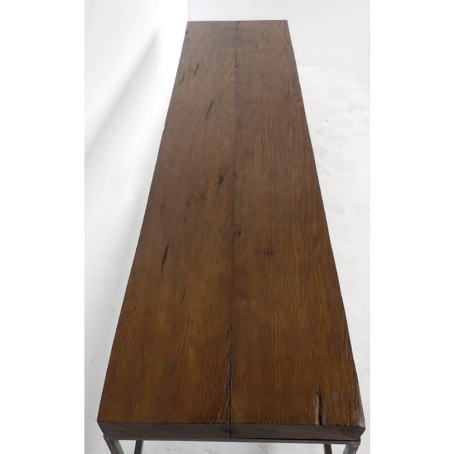 2010s Customizable Reclaimed Wood Modern Clean Line Coffee Table or Bench with Iron Base For Sale - Image 5 of 9