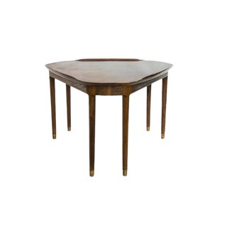 Mid-Century Danish Walnut Six Leg Side Table With Brass Sabots For Sale