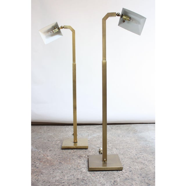 Industrial Pair of 1970s Patinated Brass Chapman Floor Lamps For Sale - Image 3 of 13