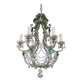 Italian Rococo Style Crystal Beaded Chandelier W/ Emerald Green Flowers C. 1930's For Sale