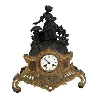 1830s Vintage French Bronze & Copper Clock For Sale
