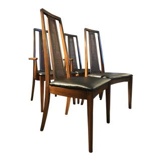 Vintage Mid Century Walnut Dining Chair- Set of 4 For Sale