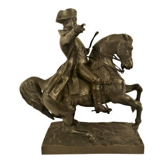 Antique 19th Century French Bronze Statue of Napoleon on Horseback Signed by Noted Sculptor, Alexandre Falguiere (1831-1900). For Sale